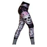 Calça De Compressão Feminina Pink Skull