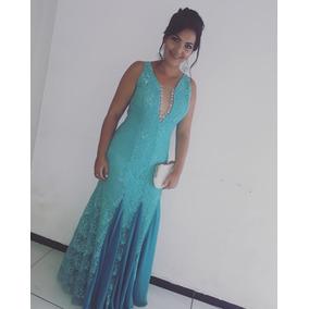 Vestido De Madrinha De Casamento Azul Piscina De Renda