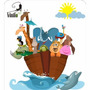 Vinilo Decorativo Infantil Arca De Noe 124x104cm, Animales