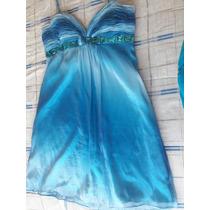 Vestido Azul Tornasol Tipo Seda, Talla Grande En $650.00