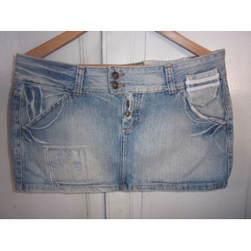 Pollera Minifalda De Jeans Brasilera Para Dama, Talle L