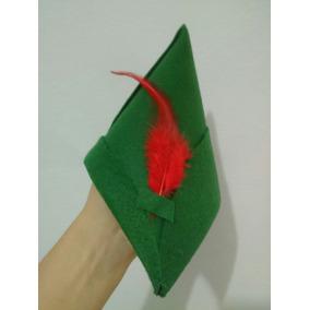 Gorro Peter Pan De Feltro Com Pena