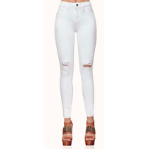 Jeans Rotos Blancos Skinny Cintura Alta Algodón Moda Nacio