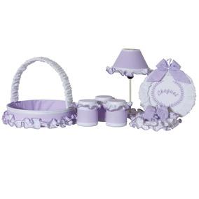 Kit Acessórios Para Quarto De Bebê - 07 Peças - Lilás