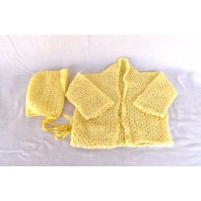 Conjunto De Casaco E Touca De Crochê Para Bebê 0 A 3 Meses