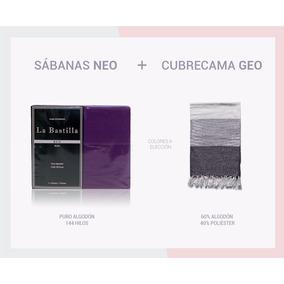 Combo Sabanas Neo + Cubrecama 1½ Plazas - Violeta (4 Piezas)