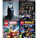 4 Juegos Ps3 Injustice, Batman Origins Lego Marvel