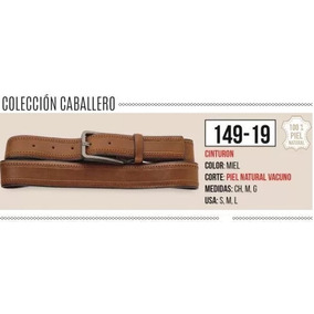 Cinturon P/hombre Color Miel De Piel 149-19 Inv-18