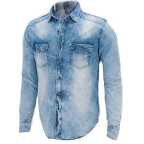 Camisa Jeans Premium Masculina Slim Fit Fashion Top Offert