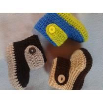 Botitas, Mocasines Para Nenes Tejida A Crochet De 0 A 1 Año!