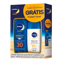 Kit Nivea Sun Protetor Solar Hidratante Fps 30 200ml + Facia