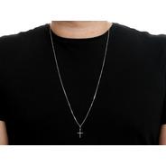 Corrente Cordão Veneziana E Pingente Cruz Crucifixo Prata 925