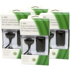 Kit Bateria E Cabo P/ Controle Sem Fio Xbox 360 10 Unidades