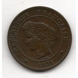 Francia Republica Moneda 5 Centimes 1871 Km#821.1 Argentvs