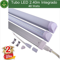 (kit 2 Piezas) Tubo Led 2.40m 8ft 40w Con Base Y Accesorios