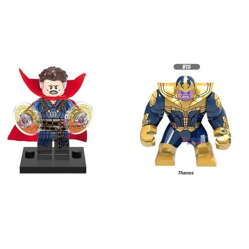 2 Bonecos Bloco De Montar Dr. Estranho Thanos Marvel