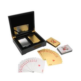 2 Set Cartas Póker En 1 Estuche De Lujo Madera Color Negro
