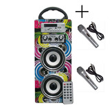 Parlante Portatil Uline + 2mic Recargable Mp3 Usb Sd Karaoke