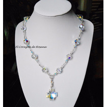 Collar Denario Cristal Swarovski De 10mm Y Plata 925