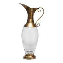 Vaso Dourado E Transparente Em Vidro - Prestige