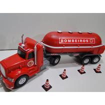 01 Fire Truck Bitrem Bombeiro Incendio Tanque Cone Mangueira