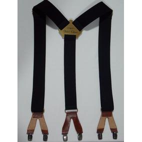 Tirador Pantalón Suspendes Doble Pinza Bronce Negro Cue 4cm