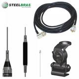 Kit Steelbras Antena Px P/ Carro + Cabo + Suporte Em Aço