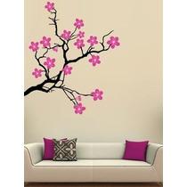 Increíble Vinilo Decorativo Rama Y Flores A 2 Colores