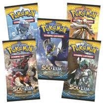 5x Pacote Cartinha Pokemon - Booster Sol E Lua - Lacrados