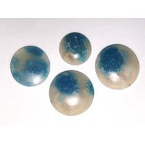 Quartzo Azul Lote De 4 Pedras Redondas Cabochão