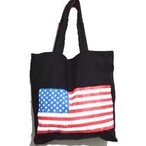 Bolsa Sacola Bandeira Estados Unidos Usa Zíper Bolso Interno