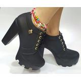 Botin Negro Bota De Tacon De Moda Dama Mujer Fabrica Calzado