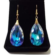 Brinco Folheado A Ouro Cristal Gota Swarovski Blue Boreal