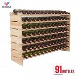 91 Botellas Porta Vino Almacenamiento Apilable 7 Nivel...