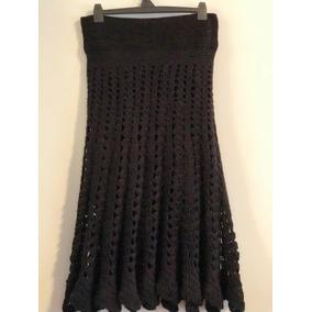 Pollera Mujer Lana Negra Tejida Al Crochet. Talle S