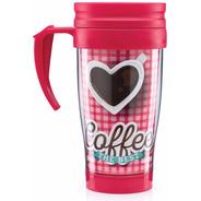 Copo Térmico Alça Coffee The Best Coração Rosa Net-compras