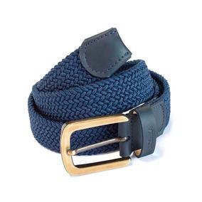 Cinturón En Reata Trenzada Combinada Con Cuero Azul M17