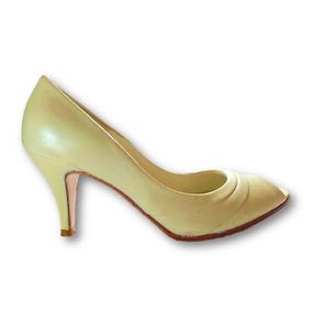 Zapato Mujer Cuero Punta Abierta Luis Xv - 33 Designs Ar 13