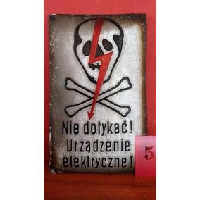 Placa Caveira Esmaltada Polônia Perigo Importada. Rara.