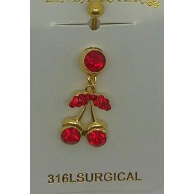 Piercing Cereija Vermelha De Umbigo Em Aço 316l Cirurgico .