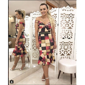 Vestido Midi Florido Festa Xadrez Tubinho