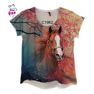 Blusa Feminina Floresta Country Cavalo Marrom C1962