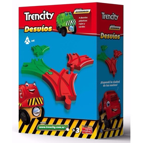 Trencity Set Desvios Plastico Rojo/ Verde 4 Piezas Educando