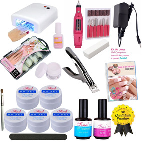 Kit Unhas Gel Uv Acrigel Mini Lixa Eletrica Cabine Uv 36w N