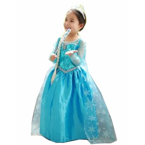 Vestido Fantasia Frozen Infantil Elsa (pronta Entrega)