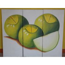 Juego De Cuadros Con Manzanas Verdes
