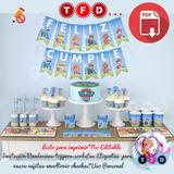 Kit Imprimible Paw Patrol Candy Bar Invitacion Banderin Topp