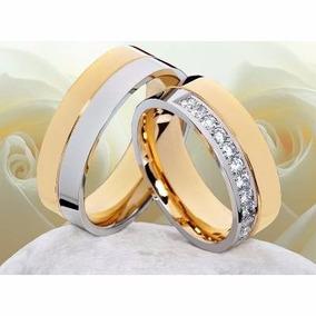 Argollas -anillos Bodas- Matrimonios-- Acero 316l-oro 18 Kt