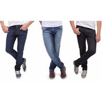 Kit Com 3 Calças Jeans Masculina Atacado Skinny Tradic Lycr
