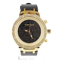 Reloj Gold Black Hip Hop Iced Out Bling Unique Folding Clip